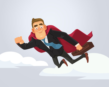 cloak: Happy smiling successful businessman office worker superhero character flying and point on you. Vector flat cartoon illustration