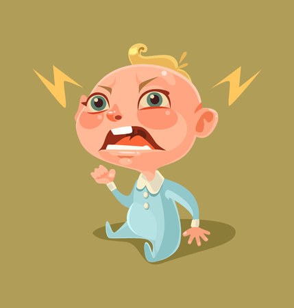 dissatisfied: Angry unhappy naughty little child character screaming and crying. Vector flat cartoon illustration