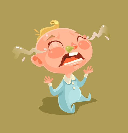 Sad unhappy naughty little child character screaming and crying. Vector flat cartoon illustration