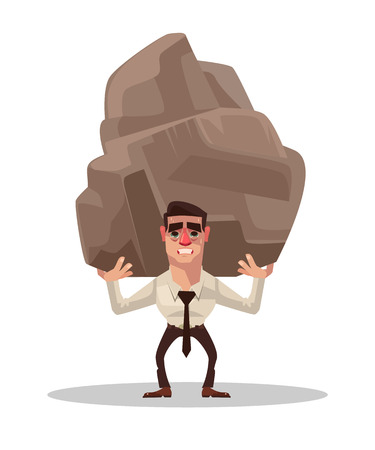 Businessman office worker character holding big stone. Vector flat cartoon illustration