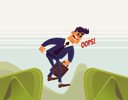 unfortunate: Businessman office worker character jumps over ravine and fall down. Vector flat cartoon illustration Illustration