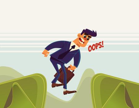 Geschäftsmann Büroangestellte Charakter springt über Schlucht und fallen hinunter. Vector flache Karikatur Illustration