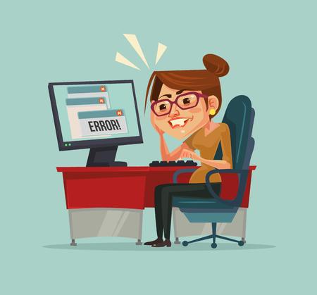 コンピューターで 404 エラー メッセージ。不満のオフィス ワーカーの女性キャラクター。ベクトル フラット漫画イラスト