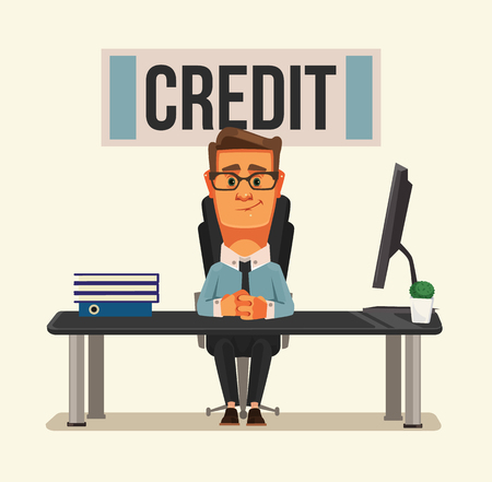 Smiling credit manager character sitting at bank office. Vector flat cartoon illustration