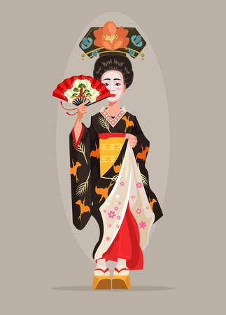 Japanese beautiful geisha character hold fan. Vector flat cartoon illustration Иллюстрация