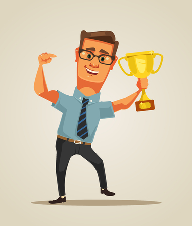 Happy winner smiling businessman character holds golden cup. Vector flat cartoon illustration