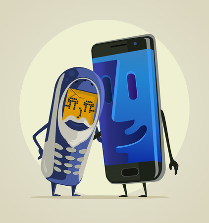 Modern smartphone grandson hugs his old phone grandfather. Vector flat cartoon illustration Stok Fotoğraf - 76748806