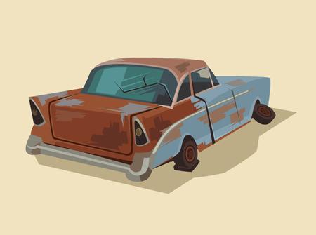 junkyard: Old rusty broken car. Vector flat cartoon illustration