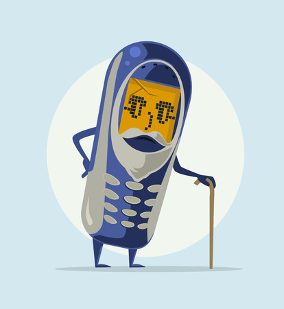 old phone: Happy smiling old grandfather phone. Vector flat cartoon illustration