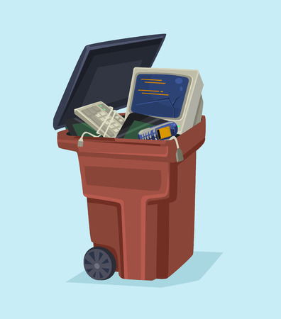 Old electronics technology computer and phone in trash can. Vector flat cartoon illustration