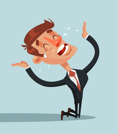 Sad unhappy screaming and crying businessman office worker manager standing on his knees and prey. Vector flat cartoon illustration