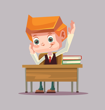 Happy smiling school boy character raising hand. Vector flat cartoon illustration