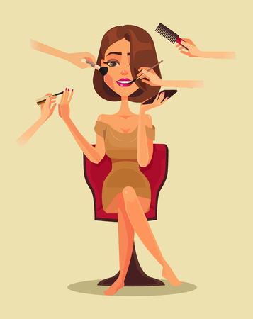 haircut: Happy smiling woman character in beauty salon. Vector flat cartoon illustration Illustration