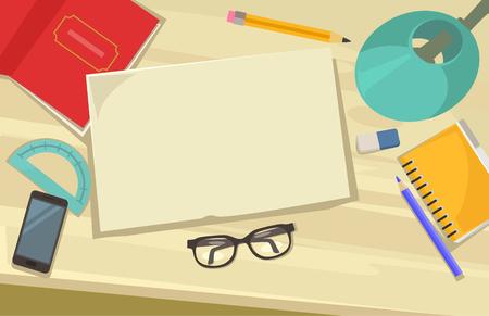 computer education: Creative workplace. Vector flat cartoon illustration Illustration
