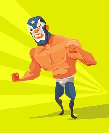 Angry wrestler man character. Vector flat cartoon illustration