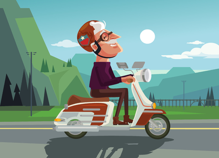 Happy smiling old man character drive scooter. Vector flat cartoon illustration