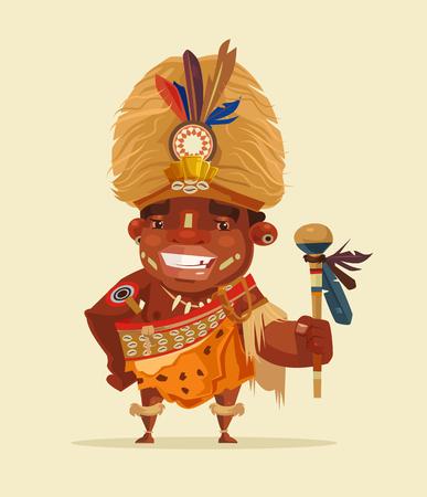 Heureux shaman voodoo africain souriant. Illustration de dessin animé plane vectorielle Banque d'images - 77097851