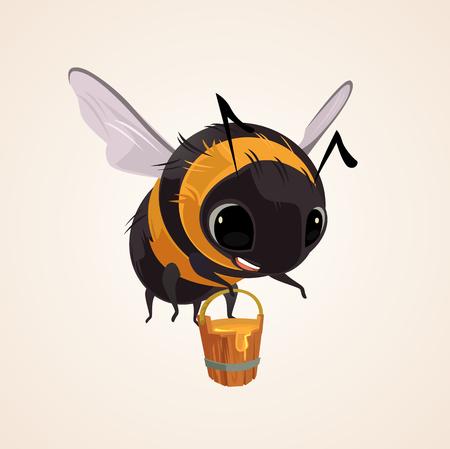 Happy smiling flying bee character mascot hold wooden bucket full of honey. Vector flat cartoon illustration Vettoriali