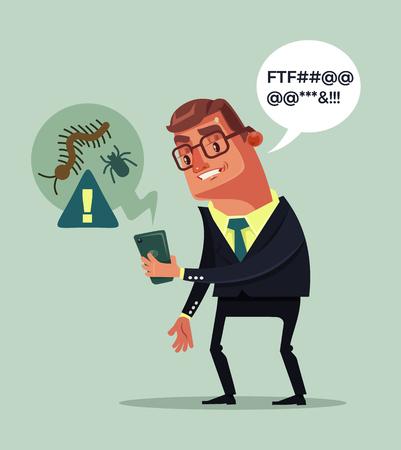 Hacker viruses attack smartphone. Shocked man character. Vector flat cartoon illustration Illustration