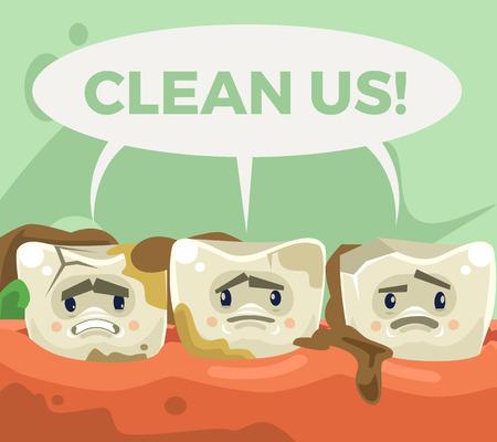 Dirty sad unhappy teeth character. Vector flat cartoon illustration