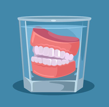 False teeth in glass. Vector flat cartoon illustration