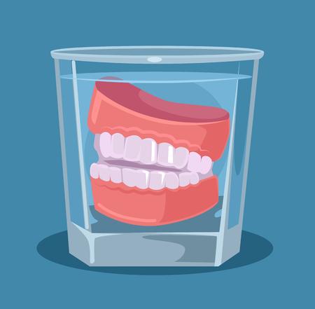 Sztuczne zęby w szkle. Ilustracja kreskówka płaski wektor Ilustracje wektorowe