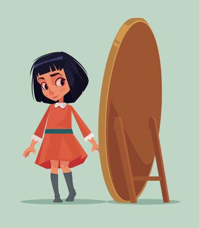 행복 한 미소 어린 소녀 새 드레스를 시도 하 고 거울을 찾고. 벡터 플랫 만화 일러스트 레이션