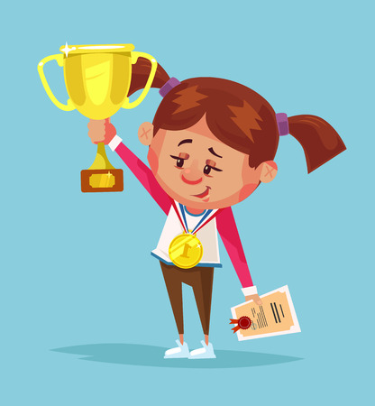 Happy smiling little girl winner holds golden cup. Vector flat cartoon illustration