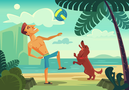 Happy smiling man character playing ball with his cheerful dog on the beach. Vector flat cartoon illustration