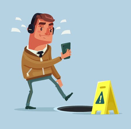 Busy man character going on the street listening to music by smartphone and did not see open manhole. Vector flat cartoon illustration