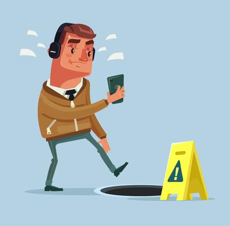 Caractère occupé homme allant dans la rue en écoutant de la musique par smartphone et n'a pas vu trou d'homme ouvert. Illustration de dessin animé plane vectorielle Vecteurs