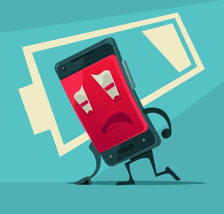Droevige ongelukkige vermoeide slimme telefoon met lage batterijenergie. Vector platte cartoon illustratie