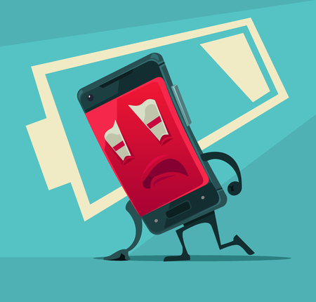 Sad unhappy tired smart phone with low battery energy. Vector flat cartoon illustration Иллюстрация