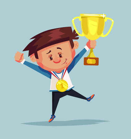 Happy smiling little boy winner holds golden cup. Vector flat cartoon illustration