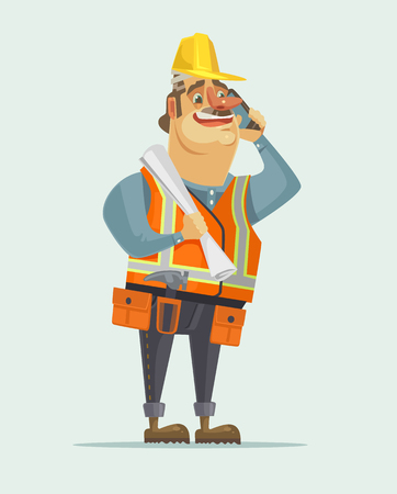 Happy smiling construction worker foreman boss man talking on mobile phone. Vector flat cartoon illustration
