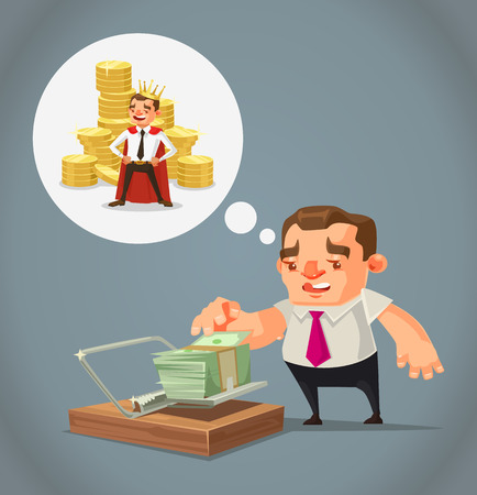 Ruined unemployed businessman character trying take money from trap. Vector flat cartoon illustration Illustration