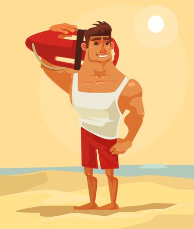 幸せな笑みを浮かべて海ライフガード男キャラクター マスコット。ベクトル フラット漫画イラスト