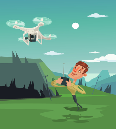 Happy smiling man with mascot playing with drone. Vector flat cartoon illustration Illustration