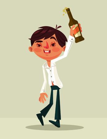 Glückliches lächelndes betrunkenes Büroangestelltmann-Charaktermaskottchen. Vektor flache Cartoon-Illustration Standard-Bild - 77572019