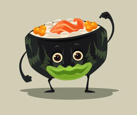Happy smiling sushi roll character mascot. Vector flat cartoon illustration