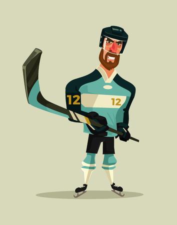 Happy smiling hockey player character mascot. Vector flat cartoon illustration