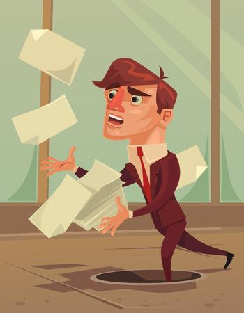 不注意な無愛想な事務員。ベクトル フラット漫画イラスト