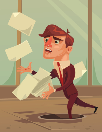 Careless inattentive office worker. Vector flat cartoon illustration