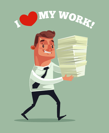 Happy smiling businessman office worker. Vector flat cartoon illustration