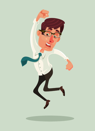 Happy smiling businessman office worker mascot character jump. Vector flat cartoon illustration