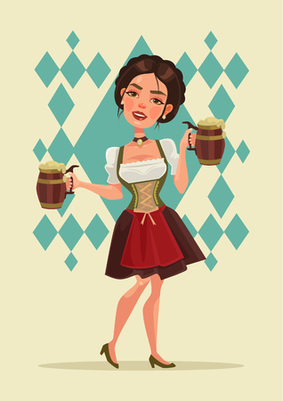 tirol: Happy smiling woman with beer mug mascot character. Oktoberfest. Vector flat cartoon illustration