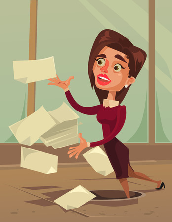Careless inattentive business woman. Vector flat cartoon illustration