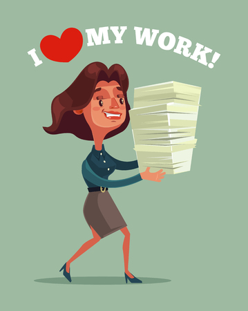 Happy smiling business woman office worker mascot character holding lot of documents report. Vector flat cartoon illustration Illustration