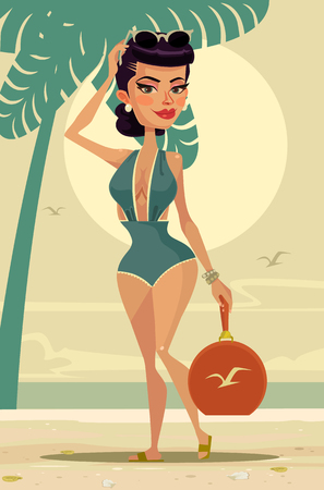 Happy smiling woman mascot character on the beach. Vector flat cartoon illustration Illustration