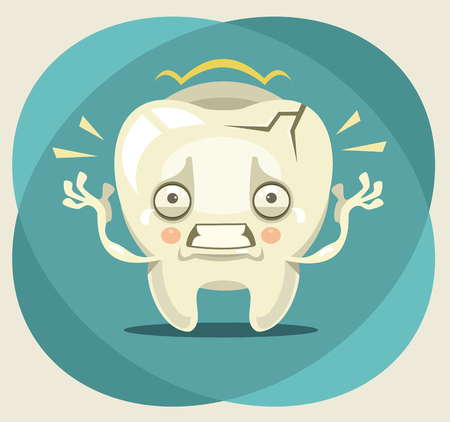 Aching unhappy crying tooth character. Vector flat cartoon illustration Ilustração